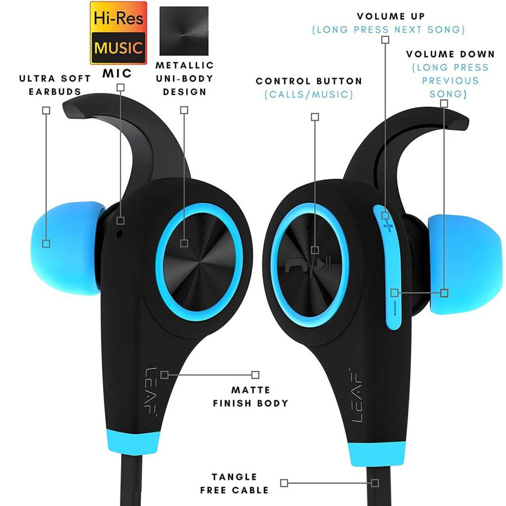 Leaf Ear Wireless Bluetooth Earphones with Mic and Deep Bass (Cool Blue)