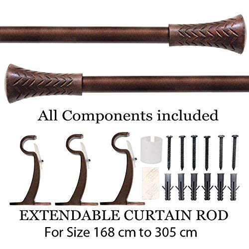 Deco Essential Brown Wood Taper Iron Curtain Rod
