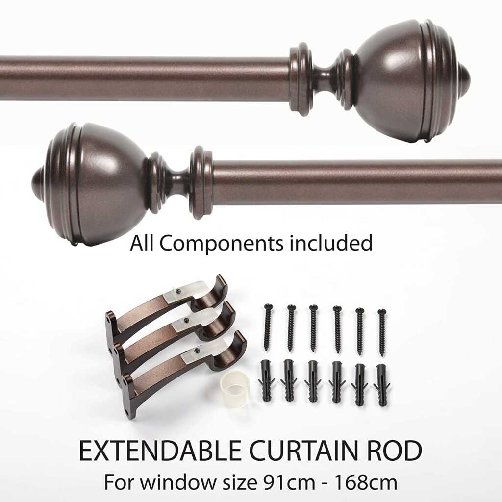 Deco Window Extendable Curtain Rod Oval Urn Brown