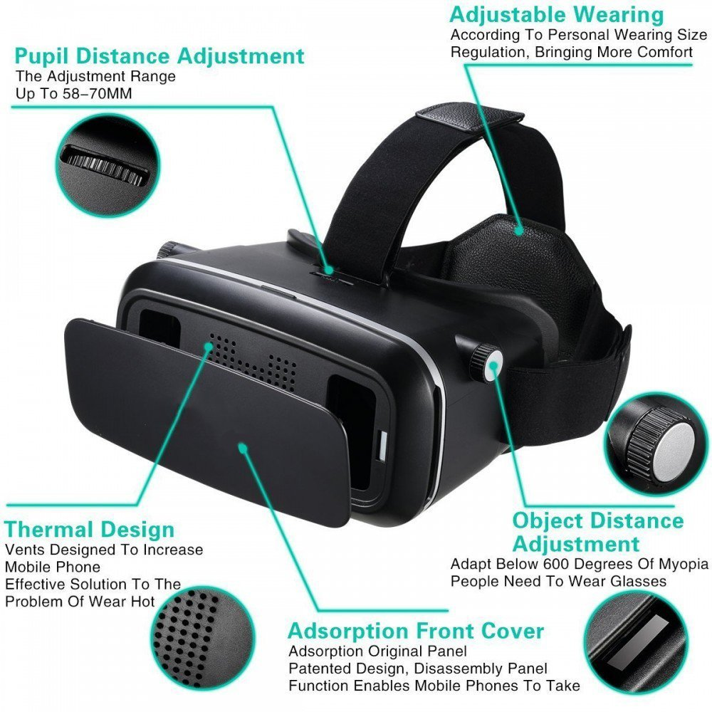 NGConnext VR-35 3D Virtual Reality Glasses Headset with HD Optical Resin Lenses for Android and iOS Smartphones (Black)
