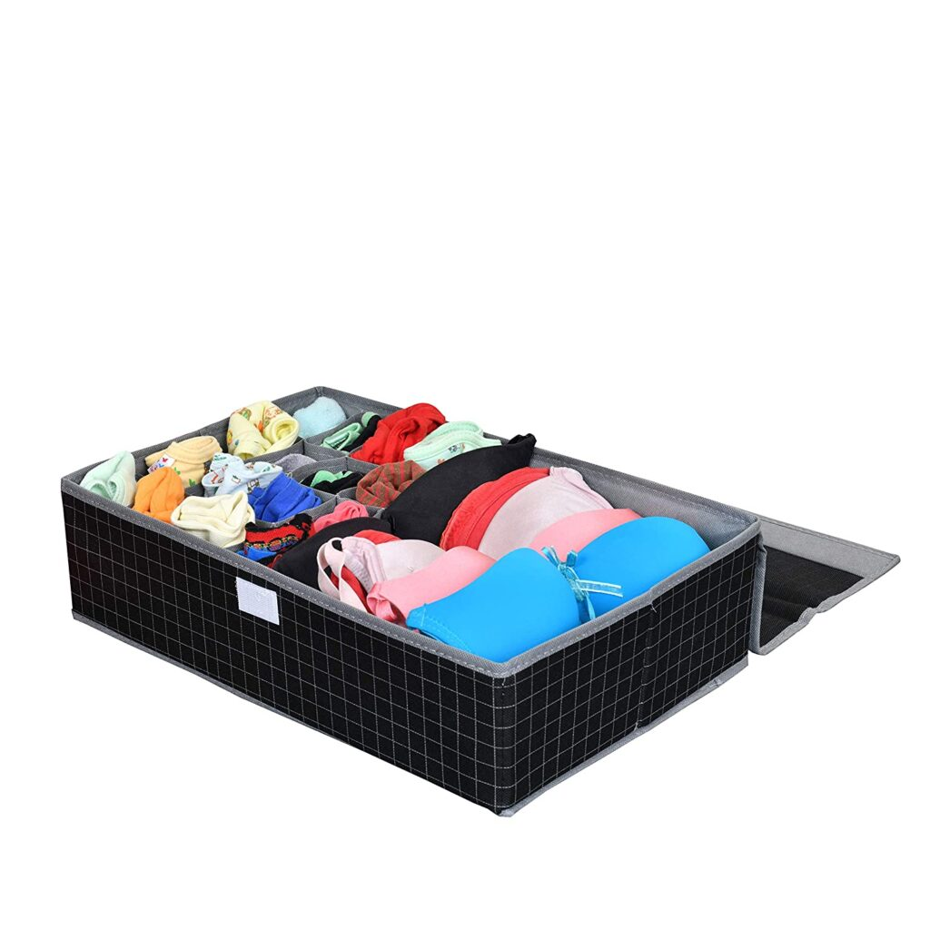 Yellow Weave Foldable Storage Box with Lid