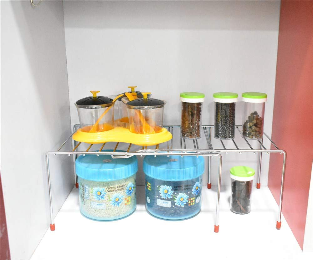 Plantex Stainless Steel Multipurpose Expandable Storage Shelves for Kitchen Cabinets