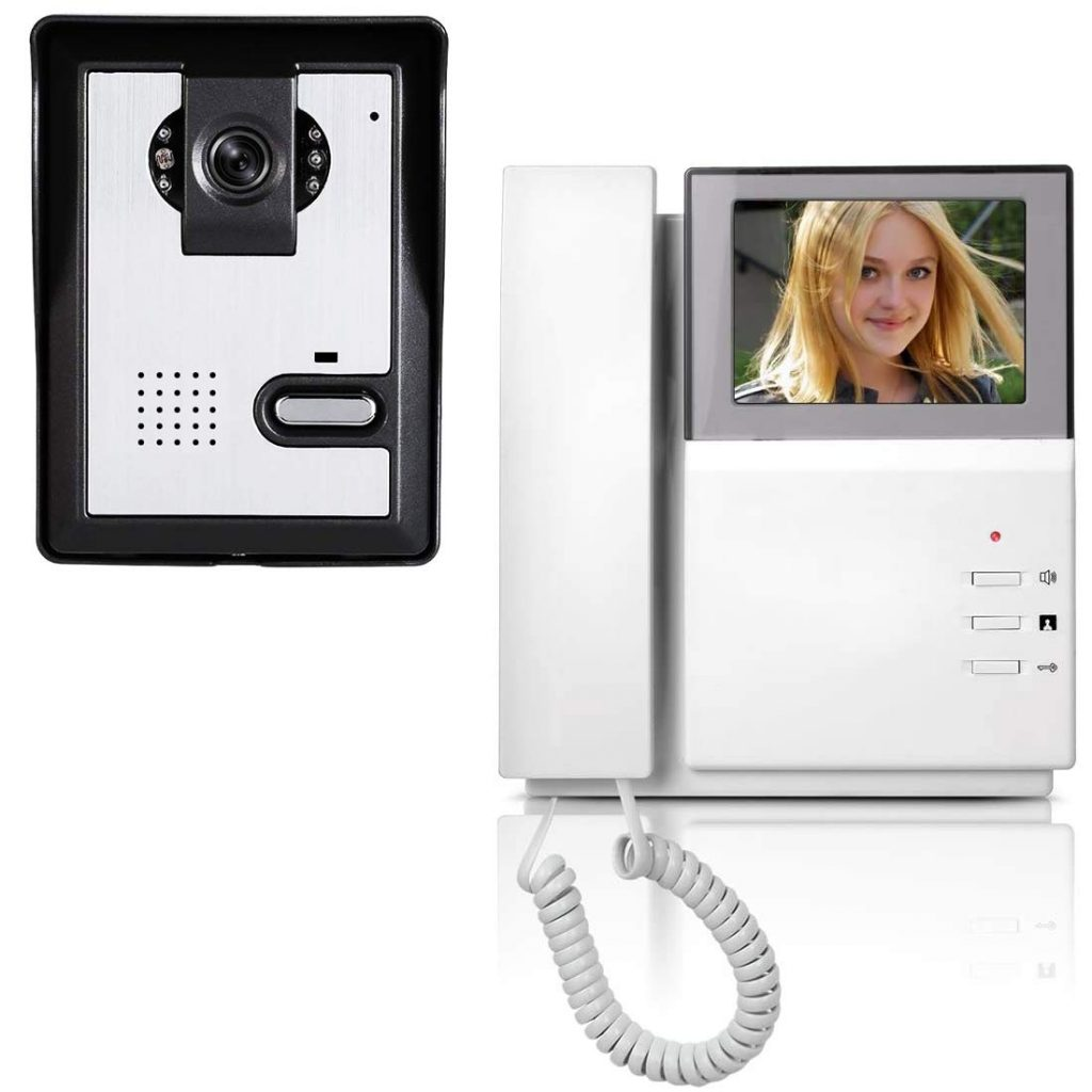 AMOCAM Video Door Phone System, 4.3 Inch Clear LCD Monitor Wired Video Intercom Doorbell Kits