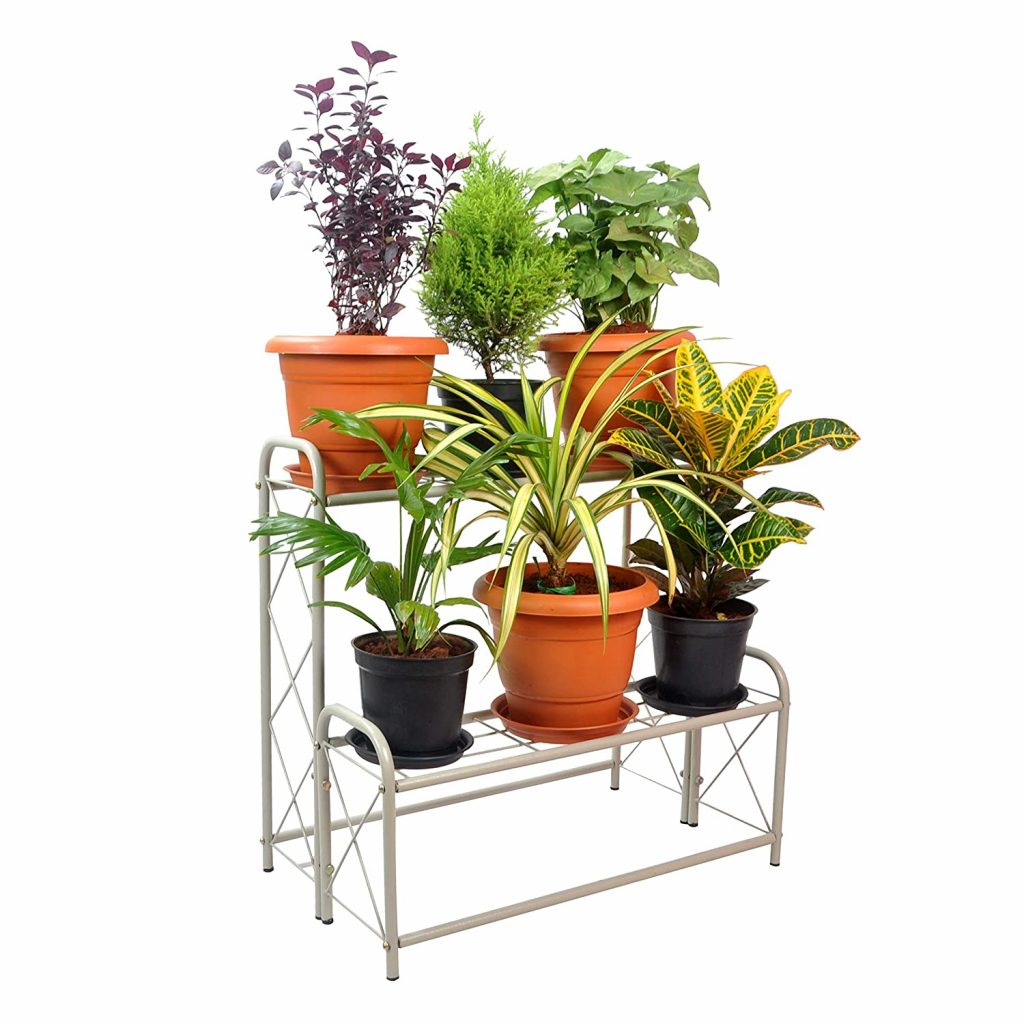 D&V ENGINEERING - Creative in innovation Metal 2 Tier Step Type Plant Stand, White, 26 inch, 1 Piece