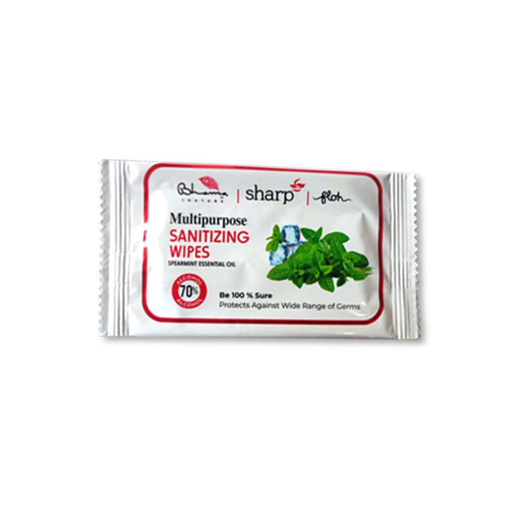 FLOH Sharp Wet Wipes  50 Wipes Multi purpose Easy to carry Sanitizing Wipes