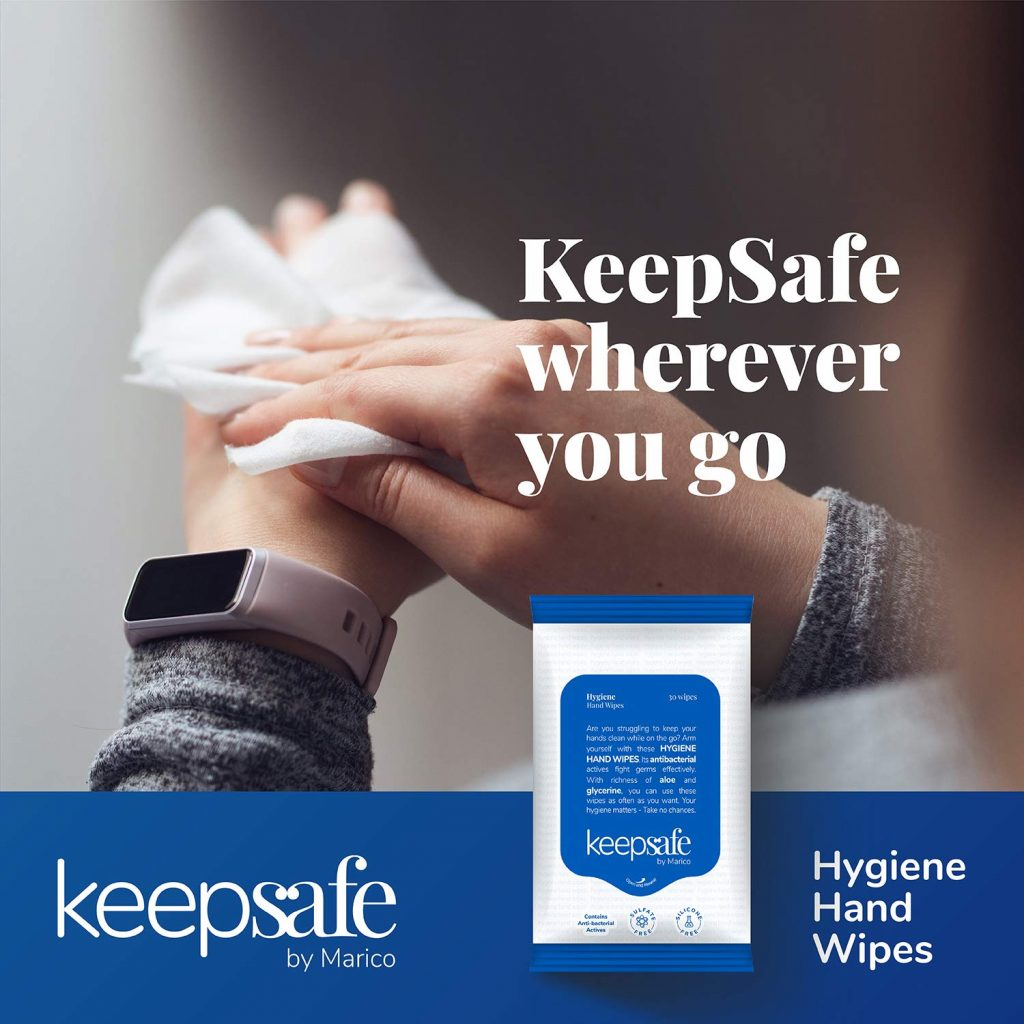 KeepSafe Hygiene Hand Disinfectant Wipes 30 pcs, Antibacterial, Rich in Aloe, Skin-friendly, No Sulphate, No Silicone