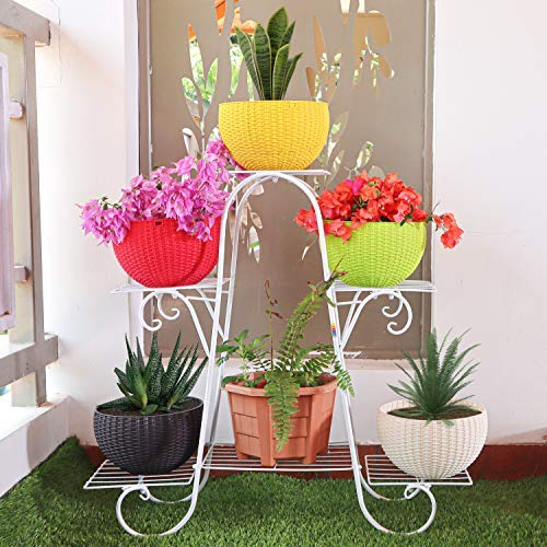 Livzing Metal 6 Tier Plant Pot Stand, White