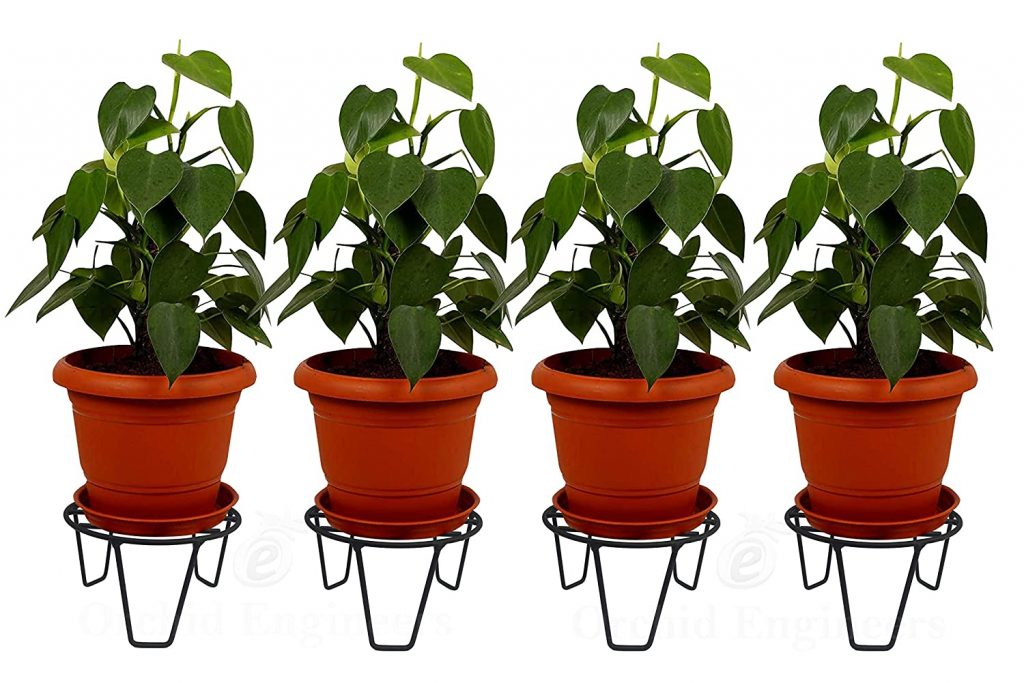ORCHID ENGINEERS Iron Indoor Outdoor Flower Pot Plant Stand for Home Garden Balcony Living Room Decor(Black, Pack of 4)