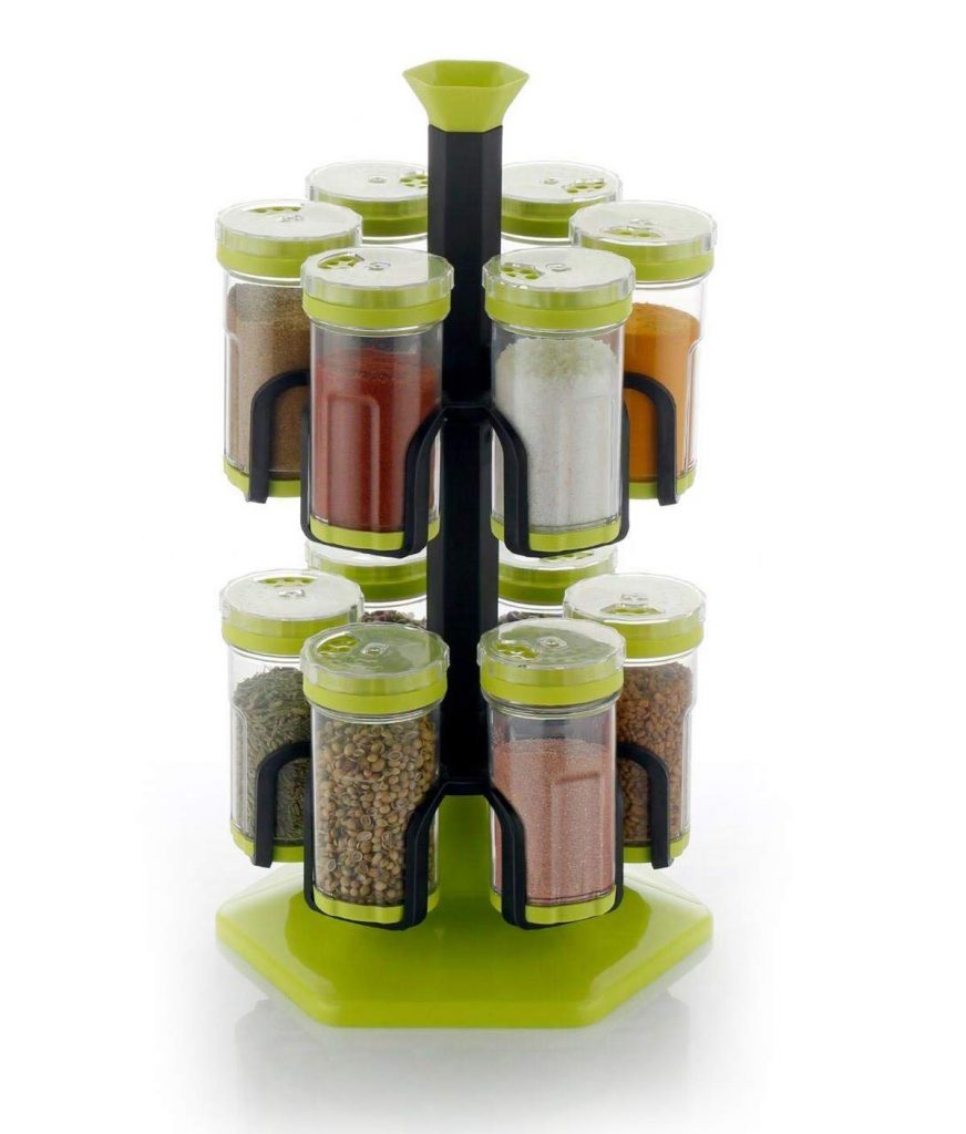 Yellow Leaf Products 12 Jar Multipurpose Revolving Plastic Spice Rack, 12 Piece Condiment Set 125 ml Round Shap Spice Rack, Spice Rack Container (Parrot Green)